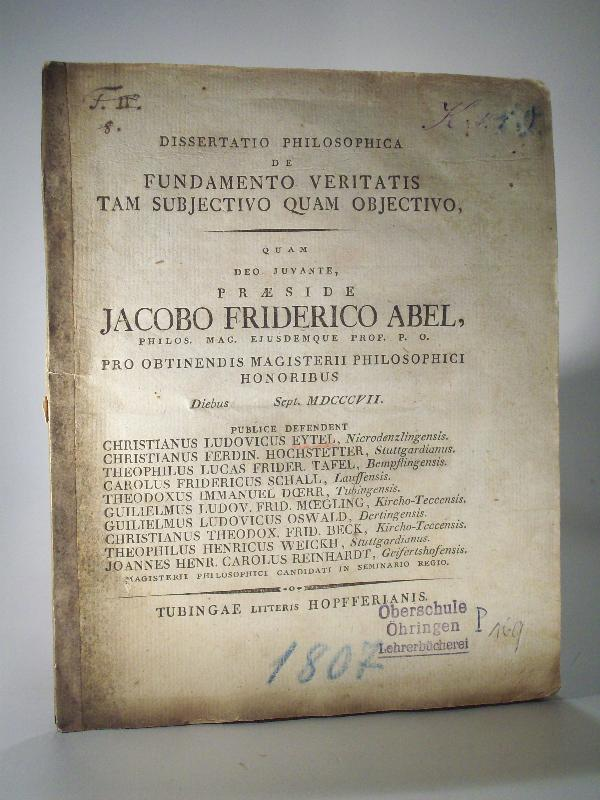 Dissertatio Philosophica de Fundamento Veritatis tam Subject  Dissertation 1807