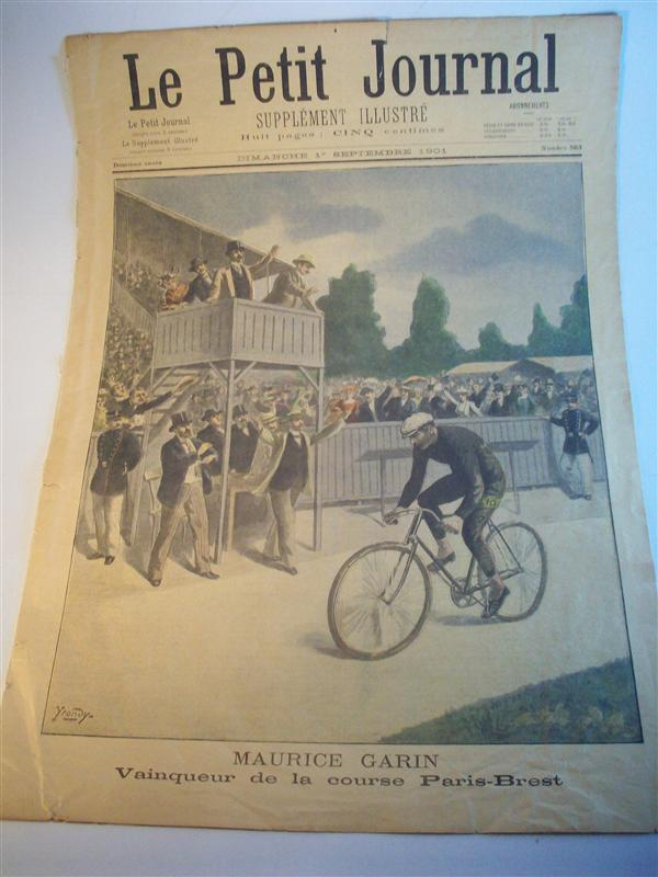 Le petit journal supplement illustré. Dimanche 1. Septembre 1901. No. 563. (Maurice Garin, Vainqueur de la course Paris-Brest).  Tour de France